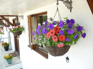 Hanging baskets in the summer make the courtyard pretty