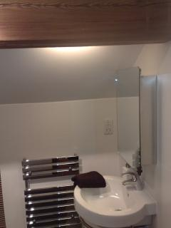 mirrored bathroom cabinets in both shower/bathrooms