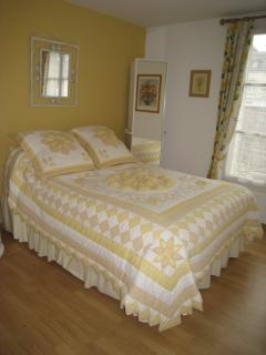 The yellow bedroom with en suite, shower, toilet and basin