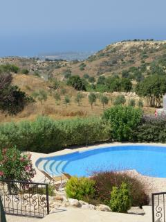 The view to the pool and onwards to the coast from the main terrace.  Perfect for family BBQ's