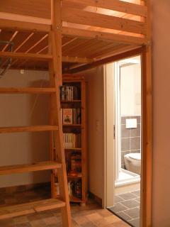 Bücher und Spiele im Regal sowie die Tür zum Duschbad mit großem Außenfenster