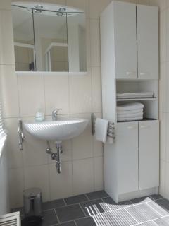 Duschbad mit Spiegel- und Badschrank