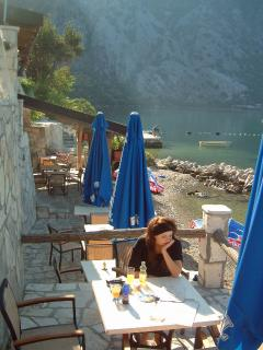 Brunch on the beach at the Amfora restaurant in Orahovac