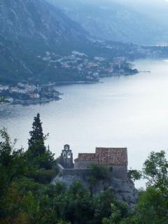 Stunning views over the Bay of Kotor from above St George's chapel in Orahovac