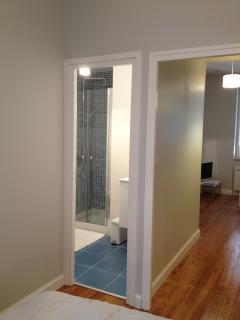 From the bedroom door to the bathroom and door to the livingroom