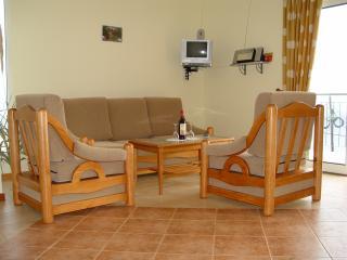 Sofa und Sessel, inzwischen mit neuem LCD digi-SAT-TV!