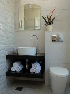 Gold Room bathroom with walk in shower