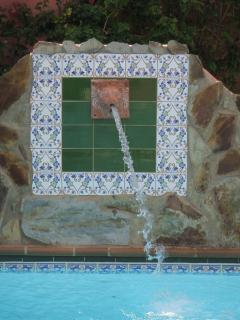 Feature water fall over pool