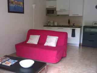 Double Sofa Bed and Kitchen