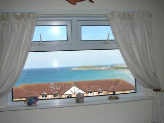 View from lounge at Casa Sirena over Fistral Bay