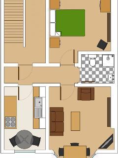 First floor one bedroom apartment floorplan