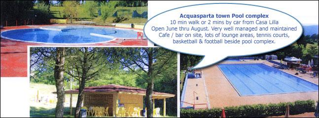 Acquasparta Pool complex, 10 min walk from Casa Lilla