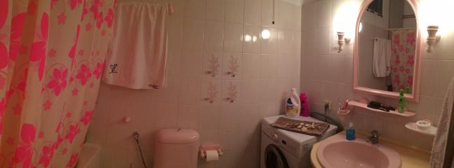 The family bathroom with the washing mashine and bathtube