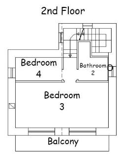 Second floor bedroom and bathroom layout