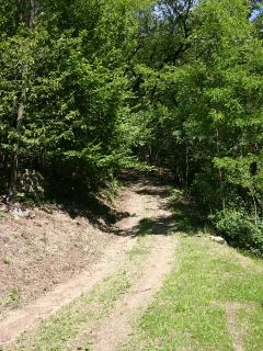 The track down to the house from the road.  Four wheeled drive (4WD) vehicles only
