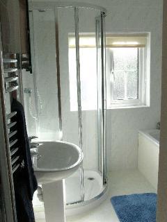 Bathroom - washbasin, toilet, bath and separate shower