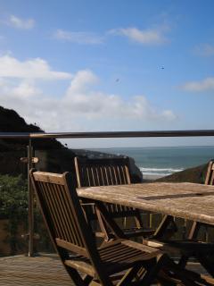 Deck with views over Porthtowan beach