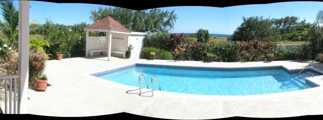 pool, gazebo and surrounding view