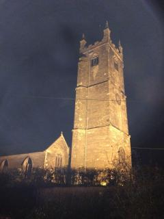 Village church at night time