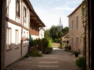 The courtyard & church spire - Early morning