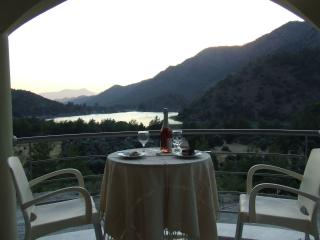 Romantic dining on upper terrace, idyllic calm peaceful setting