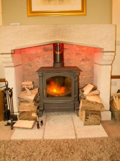 Woodburner. Always lit for your arrival in winter. Free wood included.