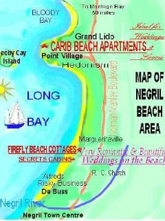 Map showing Carib, Firefly Beach Cottages and Secrets Cabins all on Negril Beach.