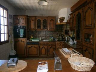 Close-up of 'rustic' kitchen from dining area; dish-washer, toaster, rice-cooker, microwav