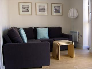 Contemporary downstairs seating area for relaxing