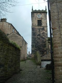 The quaint cobbled back lanes of Holmfirth