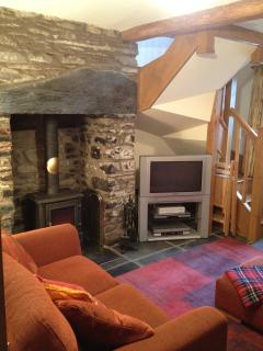 Log Burner, Stone Fire surround, cosy Lounge