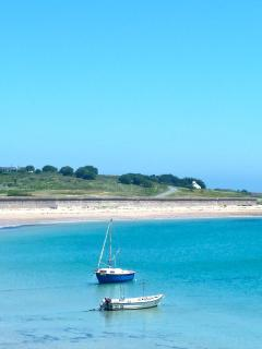 Longis beach directly in front of Les Pourciaux Cottage
