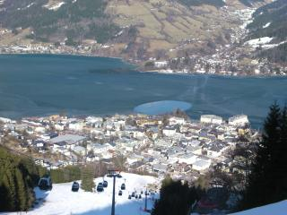 looking down on zell from ski slopes