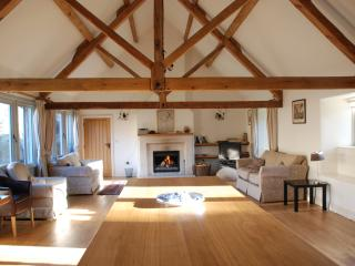 `Wow`!, a common reaction to the huge but cosy living area at the centre of Doughton Barn. .