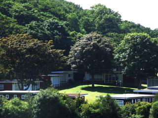 Sunny Daze is set in woodlands with the chalet roof just visable bottom centre