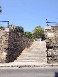 uscendo dal portone a destra salendo le scale si arriva al Palazzo Reale