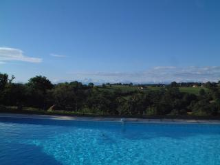 View of Pyrenees from pool