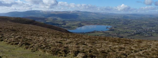 Llangorse Lake with Brecon Beacons view