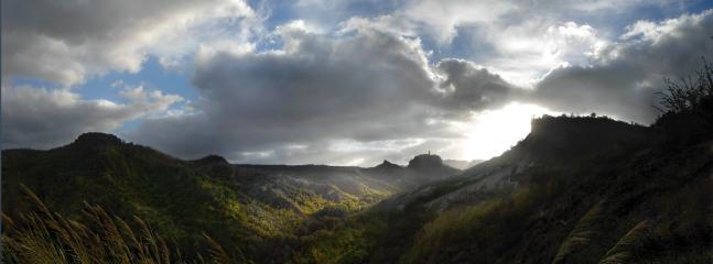 Sunrise over the canyon, you can see Cività di Bagnoregio in the distance- reachale by footbridge!