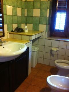 Il bagno con box doccia non inquadrato con tutti i servizi  eampia finestra sulla piazzetta pedonale