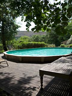 Swimming pool, 140 cm deep X 10 m X 5 meters. Fabulous outdoor shower for rinsing off!