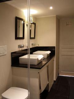 Beautiful modern bathroom - double wash hand basin feature