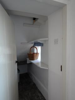 Cottage charm - the old larder next to the kitchen with shelves,  marble shelf & fridge. Freezer