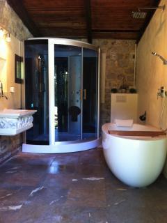 La salle de bain avec baignoire, ciel de pluie, et douche hammam pour 2 personnes