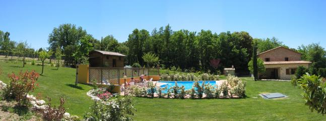 outside view of the house, garden, swimming pool and chalet