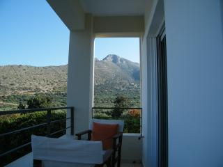 A mountain view from the bedroom terrace