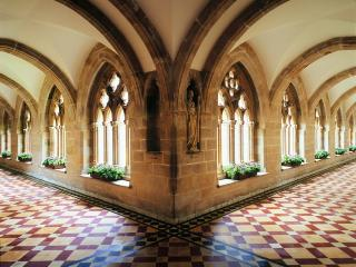 The Cloisters lead to the Spa facilities (due in late 2010)