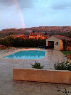 Rainbow on the Sainte Baume mountain view from the terrace