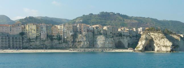 Looking back at Tropea beach from the sea