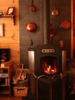 The indoor wooden stove